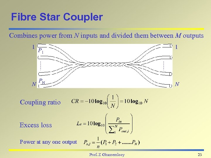 Fibre Star Coupler Combines power from N inputs and divided them between M outputs