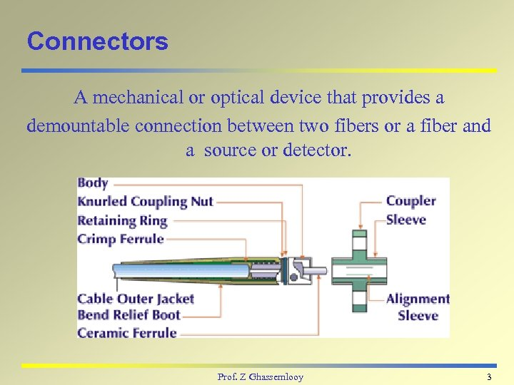 Connectors A mechanical or optical device that provides a demountable connection between two fibers