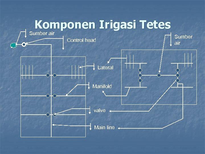 Komponen Irigasi Tetes Sumber air Control head Lateral Manifold valve Main line