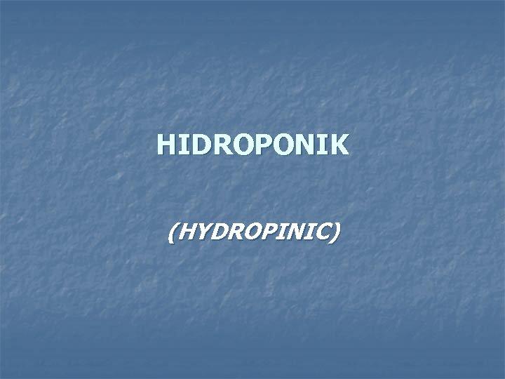 HIDROPONIK (HYDROPINIC)