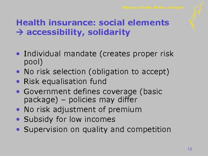 Ministry of Health, Welfare and Sport Health insurance: social elements accessibility, solidarity • Individual