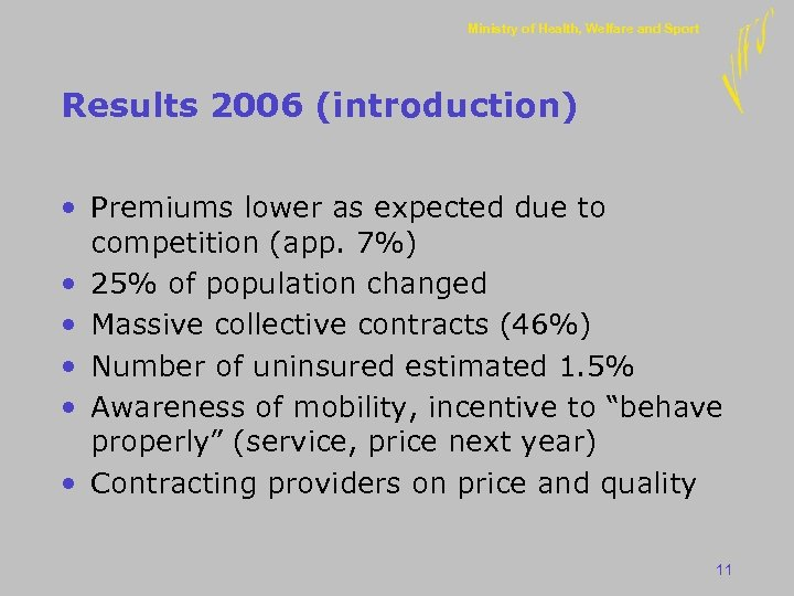 Ministry of Health, Welfare and Sport Results 2006 (introduction) • Premiums lower as expected