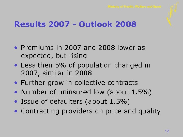 Ministry of Health, Welfare and Sport Results 2007 - Outlook 2008 • Premiums in