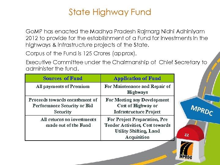 State Highway Fund Go. MP has enacted the Madhya Pradesh Rajmarg Nidhi Adhiniyam 2012