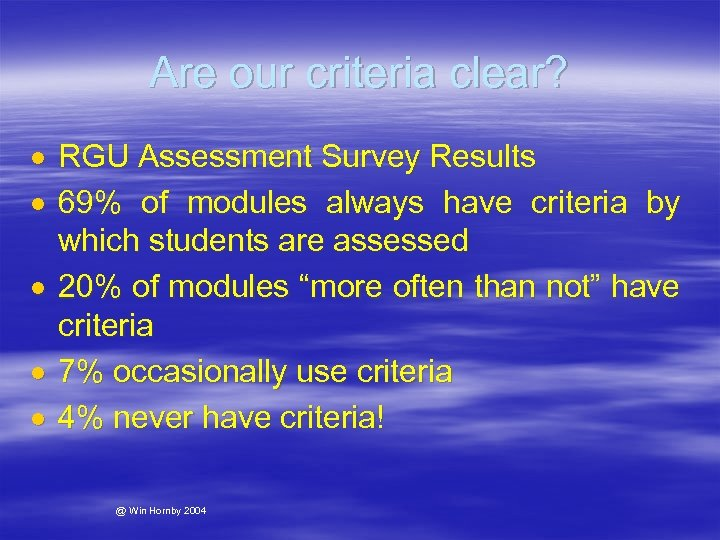 Are our criteria clear? RGU Assessment Survey Results 69% of modules always have criteria
