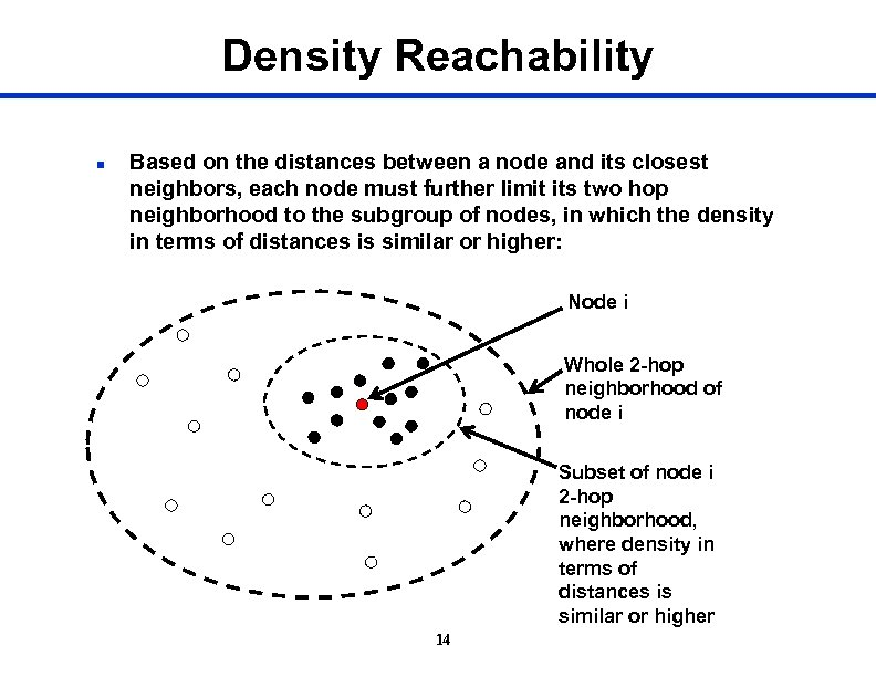 Density Reachability n Based on the distances between a node and its closest neighbors,
