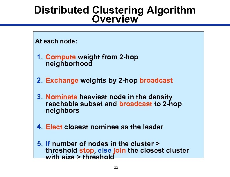 Distributed Clustering Algorithm Overview At each node: 1. Compute weight from 2 -hop neighborhood