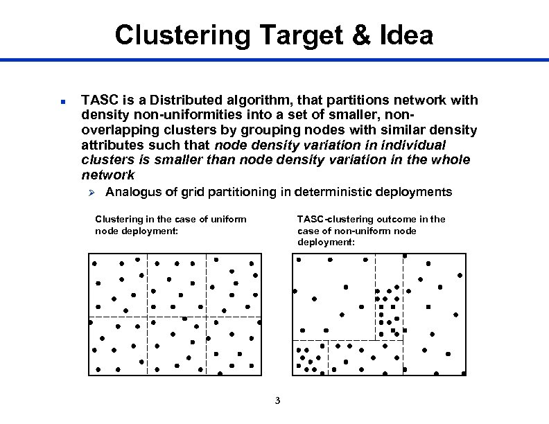 Clustering Target & Idea n TASC is a Distributed algorithm, that partitions network with