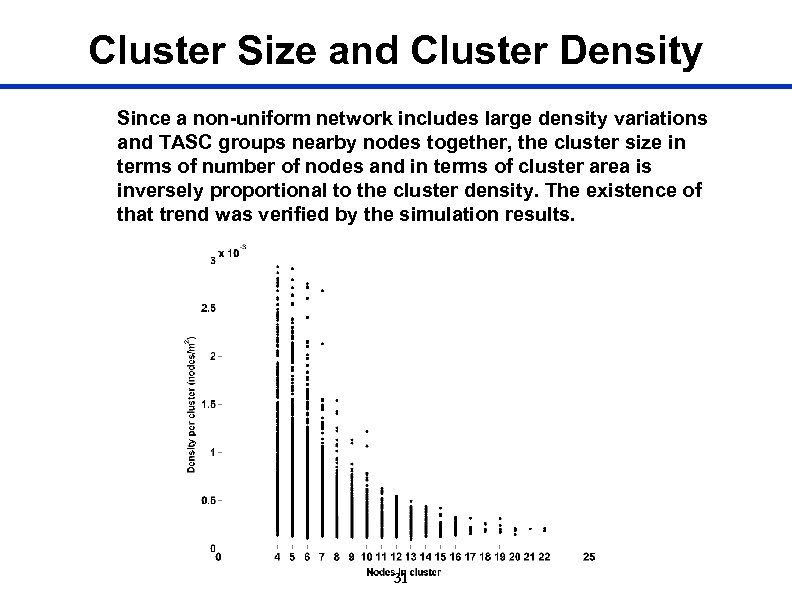 Cluster Size and Cluster Density Since a non-uniform network includes large density variations and