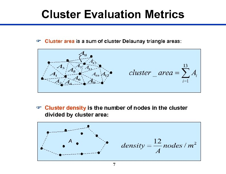 Cluster Evaluation Metrics F Cluster area is a sum of cluster Delaunay triangle areas: