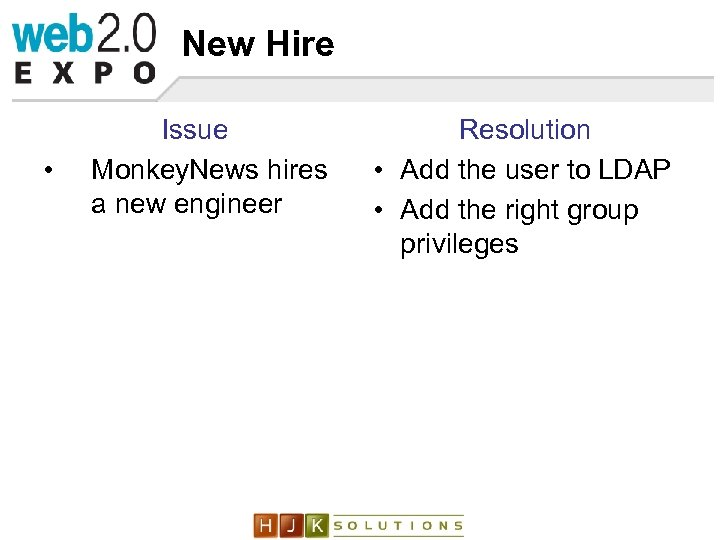 New Hire • Issue Monkey. News hires a new engineer Resolution • Add the