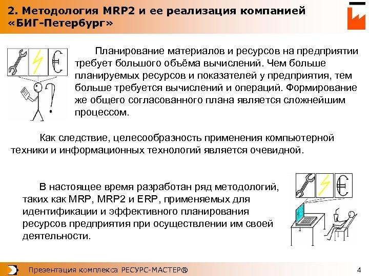 2. Методология MRP 2 и ее реализация компанией «БИГ-Петербург» Планирование материалов и ресурсов на