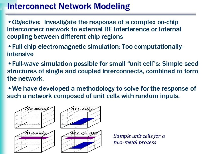 Interconnect Network Modeling • Objective: Investigate the response of a complex on-chip interconnect network
