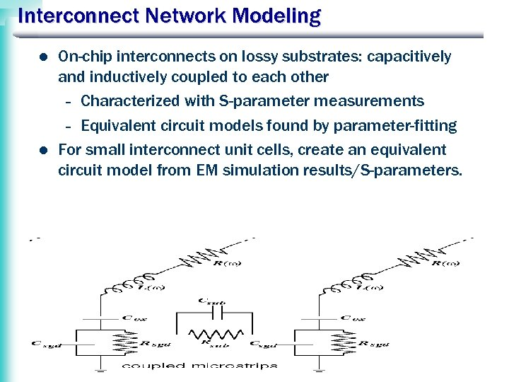 Interconnect Network Modeling l l On-chip interconnects on lossy substrates: capacitively and inductively coupled