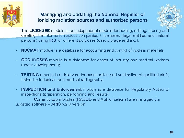 Managing and updating the National Register of ionizing radiation sources and authorized persons -