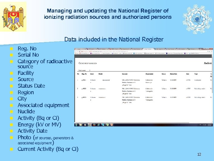 Managing and updating the National Register of ionizing radiation sources and authorized persons Data