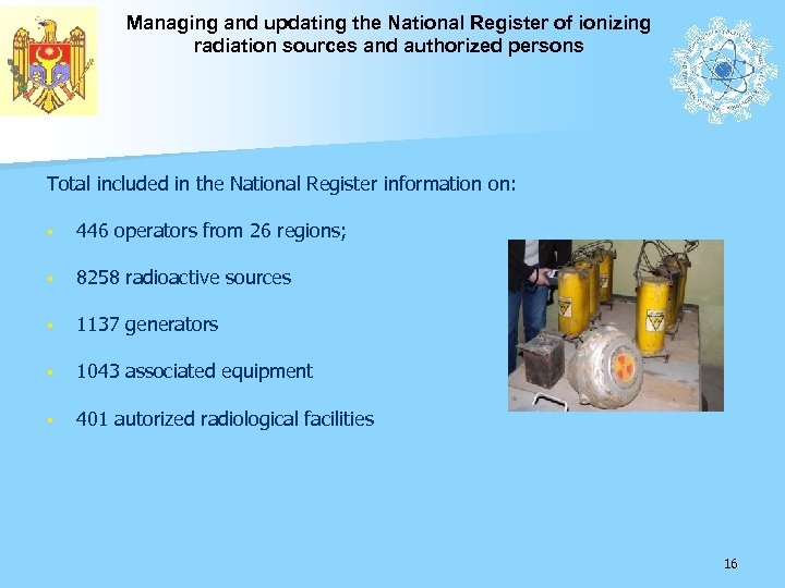 Managing and updating the National Register of ionizing radiation sources and authorized persons Total