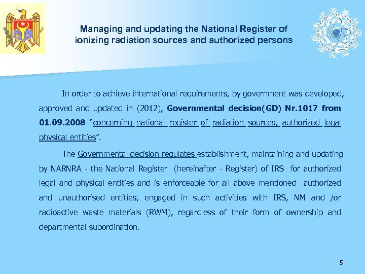 Managing and updating the National Register of ionizing radiation sources and authorized persons In