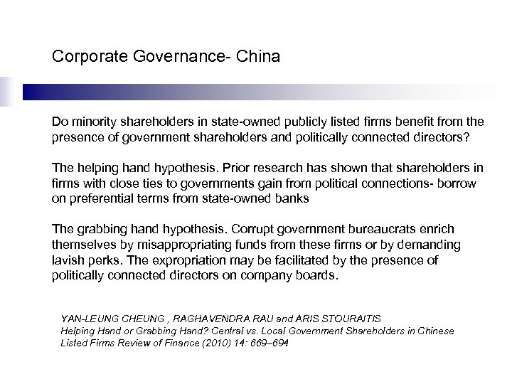 Corporate Governance- China Do minority shareholders in state-owned publicly listed firms benefit from the