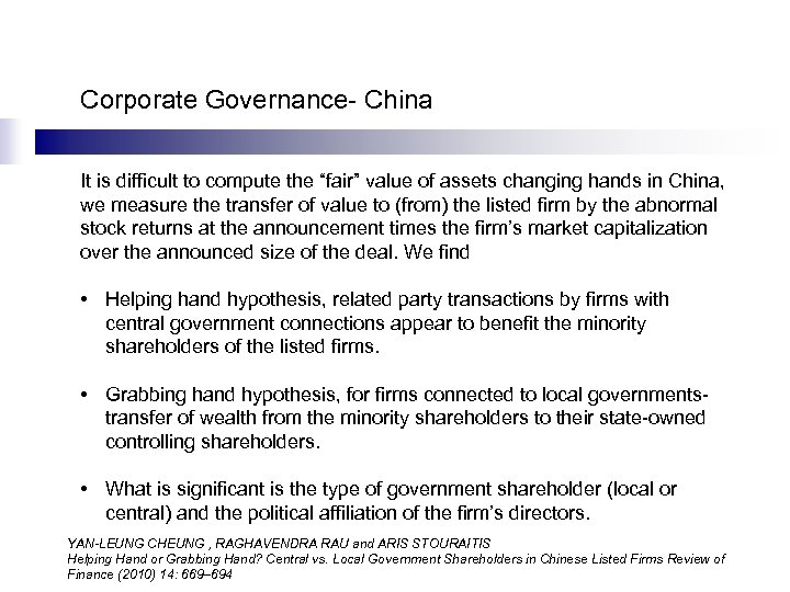"""Corporate Governance- China It is difficult to compute the """"fair"""" value of assets changing"""