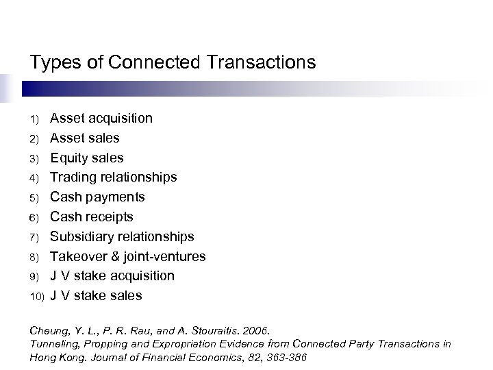 Types of Connected Transactions 1) 2) 3) 4) 5) 6) 7) 8) 9) 10)