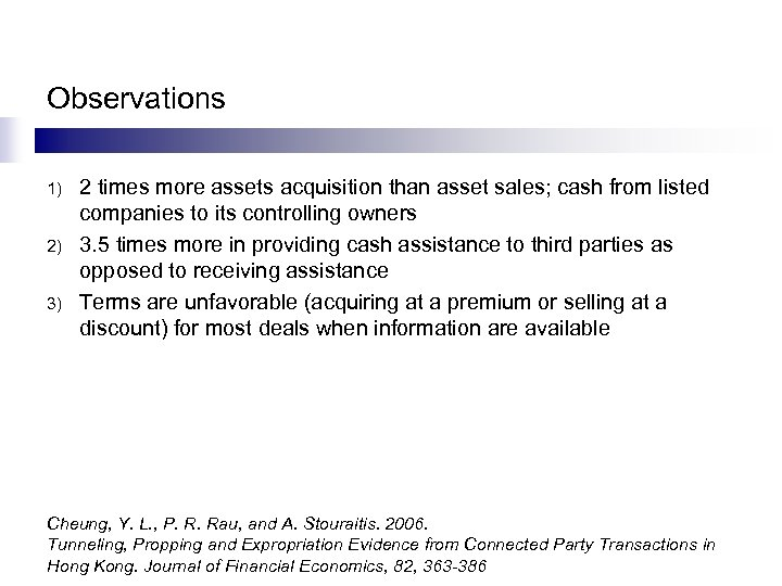 Observations 1) 2) 3) 2 times more assets acquisition than asset sales; cash from