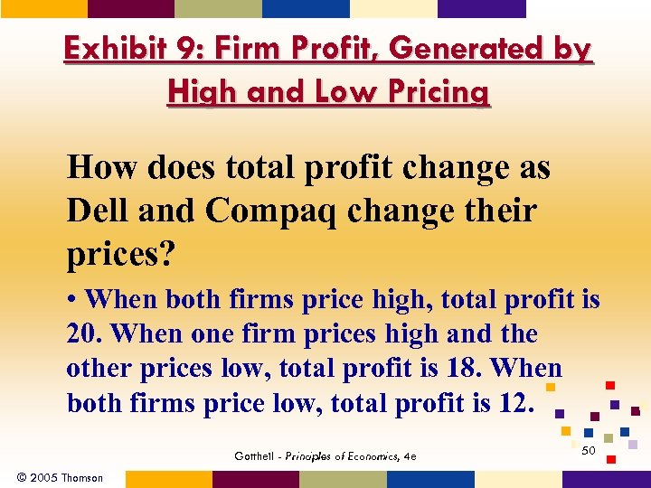 Exhibit 9: Firm Profit, Generated by High and Low Pricing How does total profit