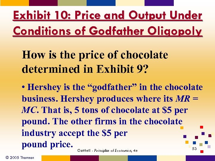 Exhibit 10: Price and Output Under Conditions of Godfather Oligopoly How is the price