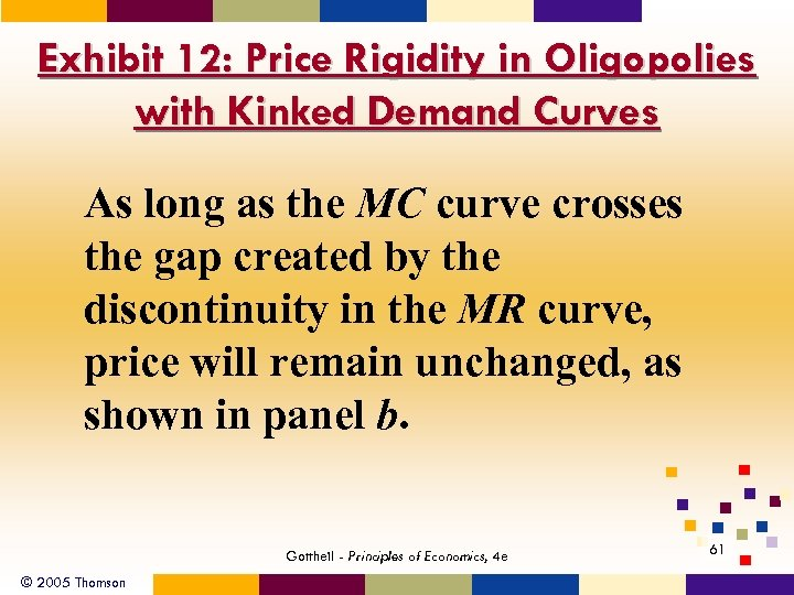 Exhibit 12: Price Rigidity in Oligopolies with Kinked Demand Curves As long as the