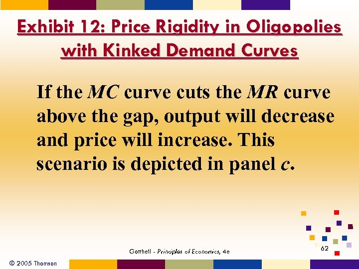 Exhibit 12: Price Rigidity in Oligopolies with Kinked Demand Curves If the MC curve