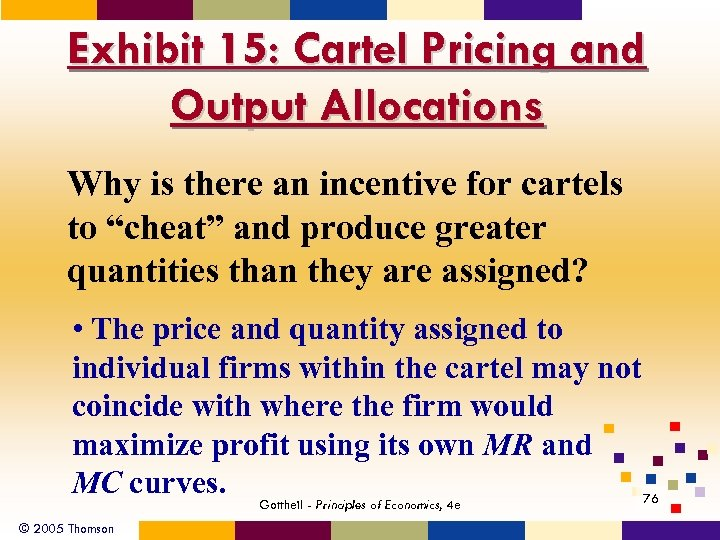Exhibit 15: Cartel Pricing and Output Allocations Why is there an incentive for cartels