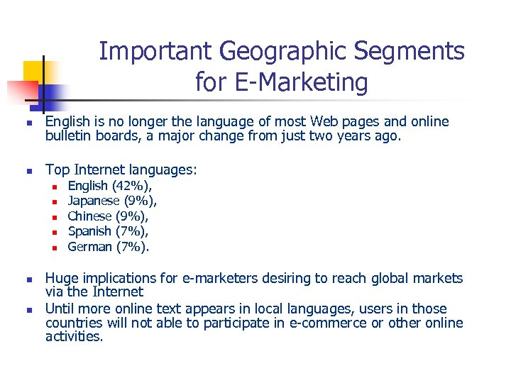 Important Geographic Segments for E-Marketing n English is no longer the language of most