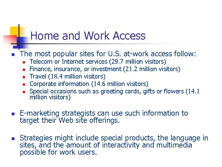 Home and Work Access n The most popular sites for U. S. at-work access