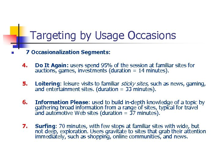 Targeting by Usage Occasions n 7 Occasionalization Segments: 4. Do It Again: users spend