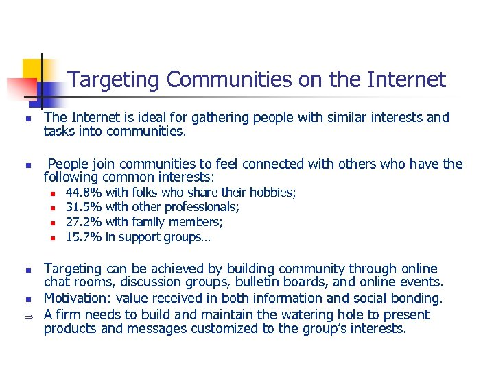 Targeting Communities on the Internet n The Internet is ideal for gathering people with