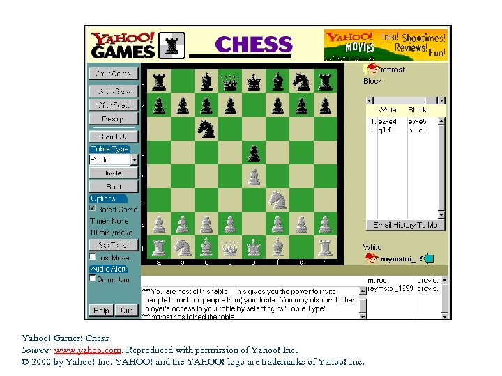 Yahoo! Games: Chess Source: www. yahoo. com. Reproduced with permission of Yahoo! Inc. ©