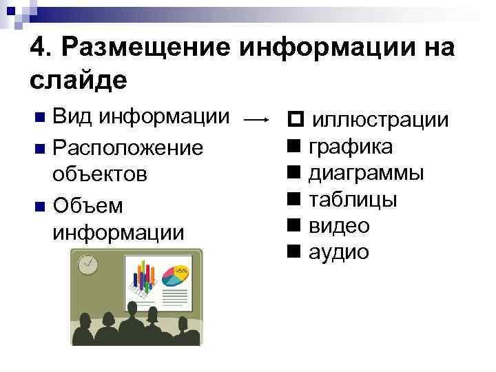 4. Размещение информации на слайде Вид информации Расположение объектов Объем информации иллюстрации графика диаграммы