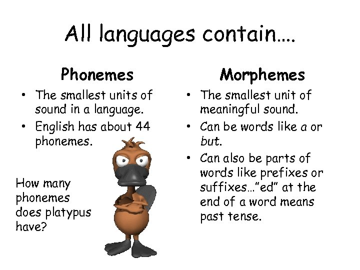 All languages contain…. Phonemes • The smallest units of sound in a language. •