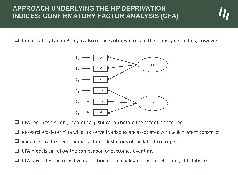 APPROACH UNDERLYING THE HP DEPRIVATION INDICES: CONFIRMATORY FACTOR ANALYSIS (CFA) q Confirmatory Factor Analysis