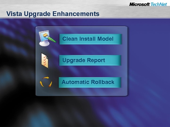 Vista Upgrade Enhancements Clean Install Model Upgrade Report Automatic Rollback