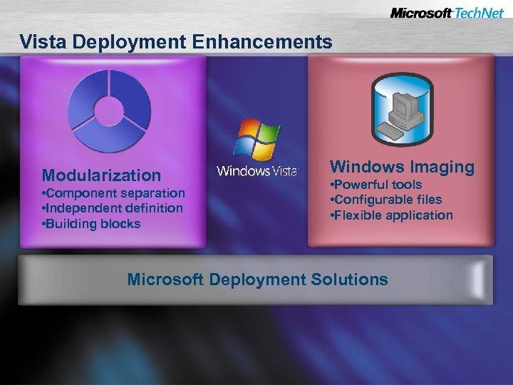 Vista Deployment Enhancements Modularization • Component separation • Independent definition • Building blocks Windows