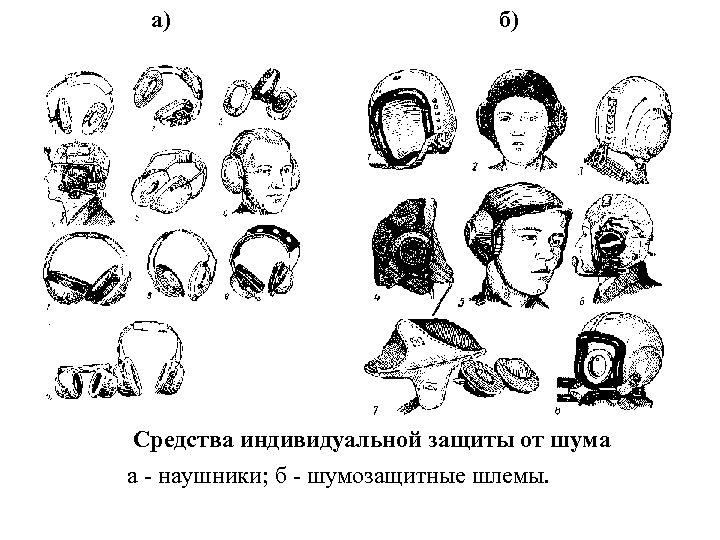 а) б) Средства индивидуальной защиты от шума а - наушники; б - шумозащитные шлемы.