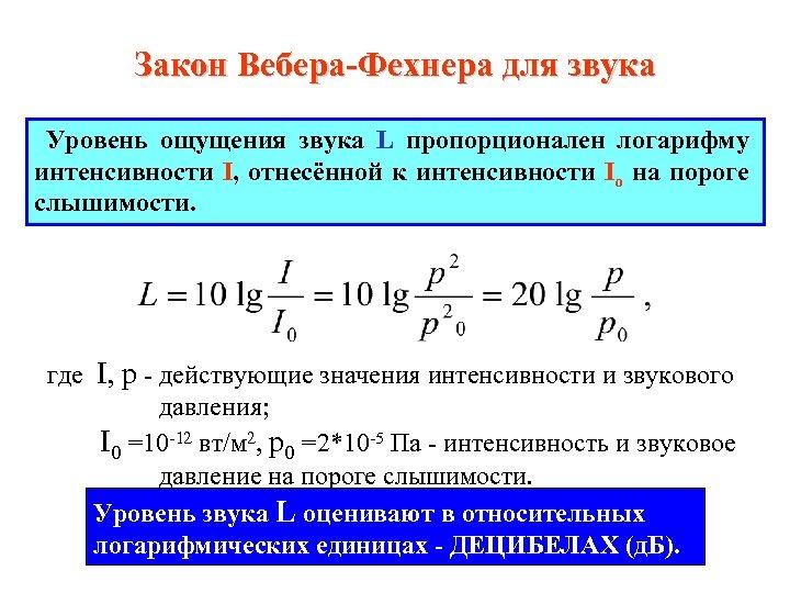 Закон Вебера-Фехнера для звука Уровень ощущения звука L пропорционален логарифму интенсивности I, отнесённой к