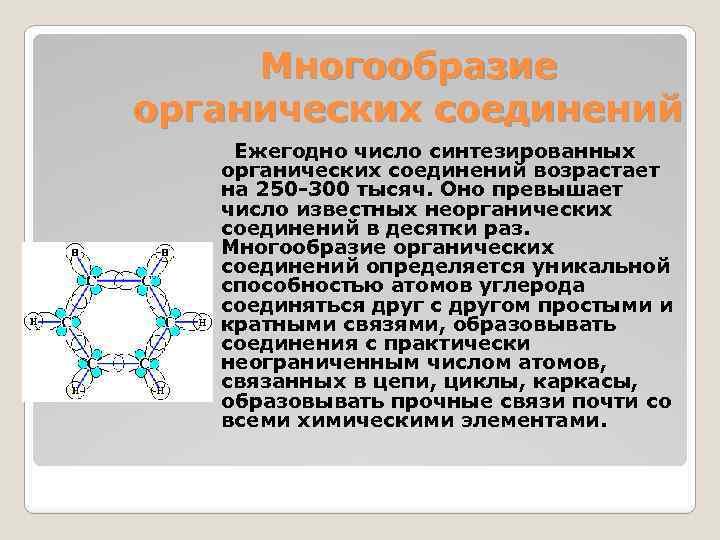 Многообразие органических соединений Ежегодно число синтезированных органических соединений возрастает на 250 -300 тысяч. Оно