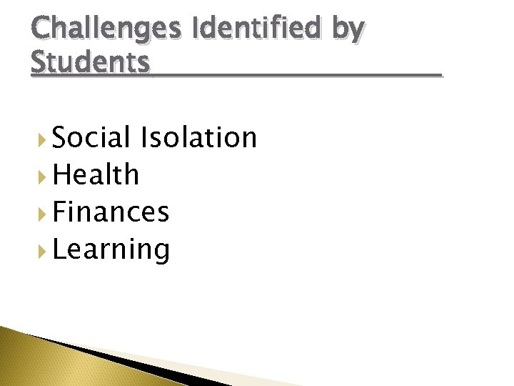 Challenges Identified by Students Social Isolation Health Finances Learning