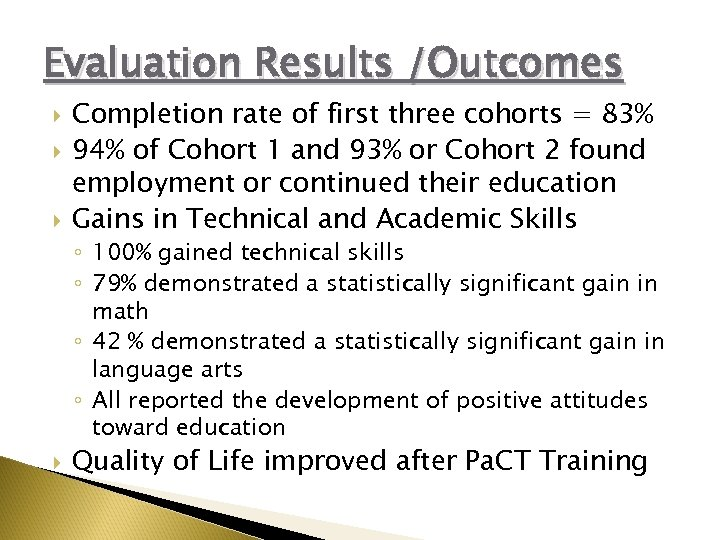Evaluation Results /Outcomes Completion rate of first three cohorts = 83% 94% of Cohort