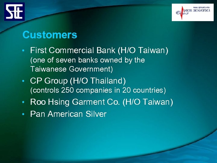 Customers • First Commercial Bank (H/O Taiwan) (one of seven banks owned by the
