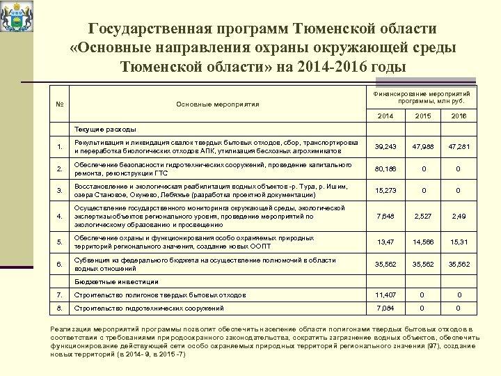 Государственная программ Тюменской области «Основные направления охраны окружающей среды Тюменской области» на 2014 -2016
