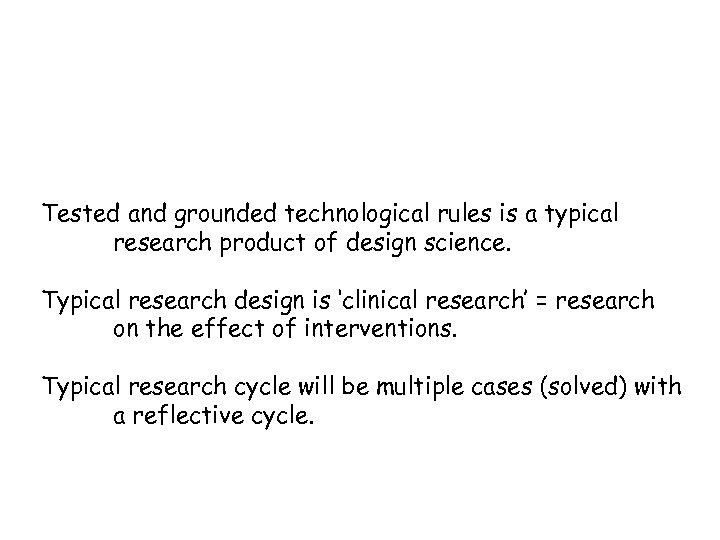 Tested and grounded technological rules is a typical research product of design science. Typical