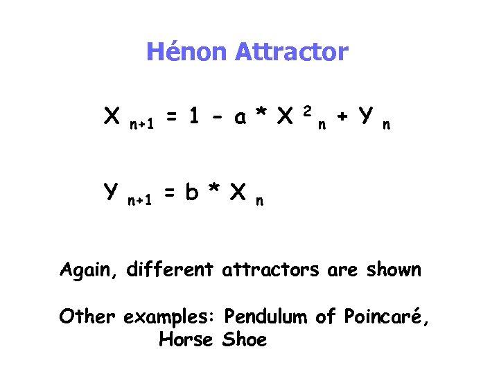 Hénon Attractor X n+1 = 1 - a * X Y n+1 = b